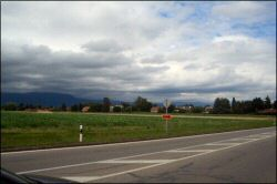 Road to Nyon. Sometimes you pass through towns, sometimes fields.