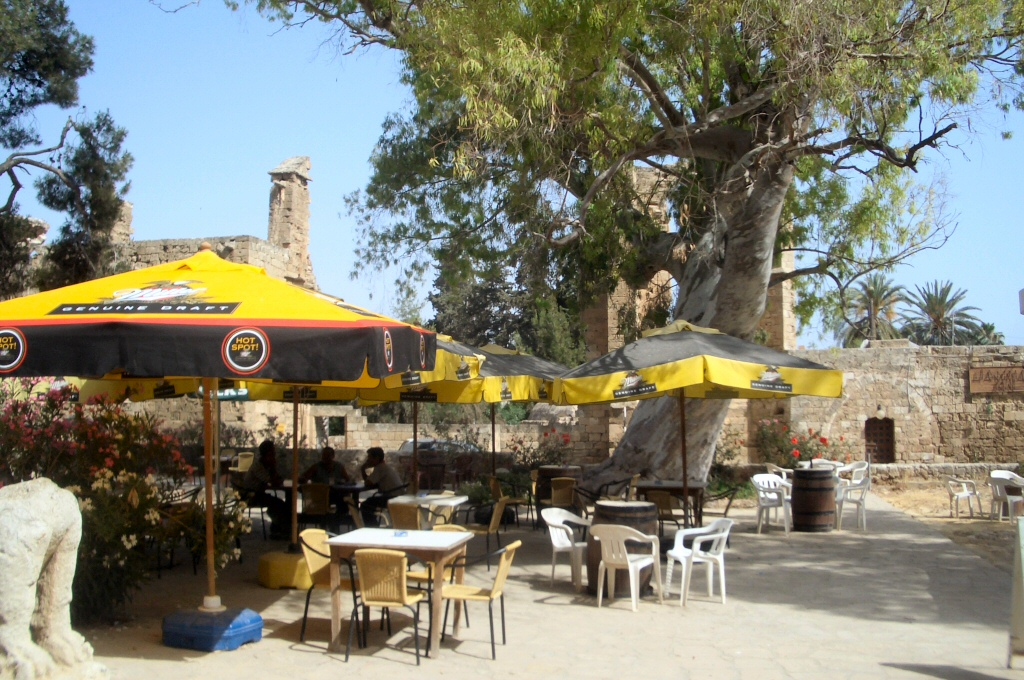A quite café in Famagusta with a nice 'old city' view on background.