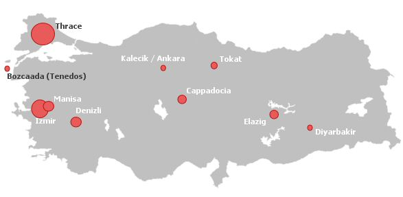 Wine production areas in Turkey